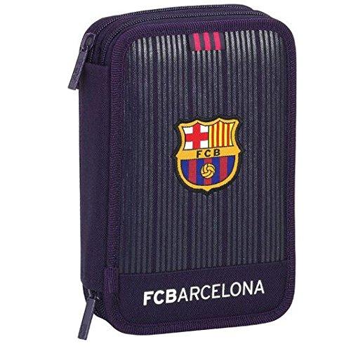 Futbol Club Barcelona- FC Barcelona Plumier Doble pequeño 34 Piezas, Color Morado, 20 cm (SAFTA 411678054)