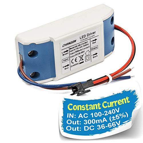 Chanzon LED Driver 300mA (Constant Current Output) 36V-66V (Input 100-240V AC-DC) (12-20) x1W 12W 15W 18W 20W Power Supply 300 mA Lighting Transformer Drivers for High Power COB Chips (Plastic Case)