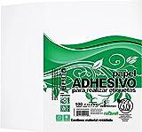 Papel adhesivo. Etiquetas tamaño carta blanco. 100 Hojas, para Impresoras Laser, Inkjet, Fotocopiadoras o Trabajos Artesanales. Contiene material Reciclado