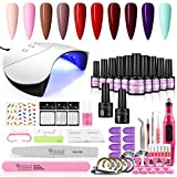 COSCELIA 10PCS Kit de Esmaltes Semipermanentes en Gel Soak off 7ML UV/LED Lámpara para Uñas 36W Torno para Uñas Pulidora Eléctrica Base Top Gel para Manicura Pedicura