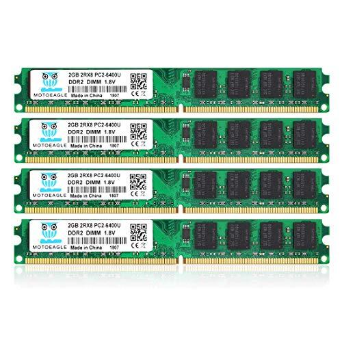 DDR2 800 MHz UDIMM PC2-6300 PC2-6400U 8GB Kit (4x2GB) 1.8V 2Rx8 240-pin DIMM Desktop Arbeitsspeicher
