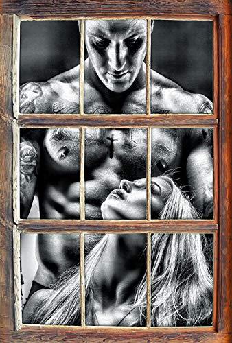 KAIASH 3D Pegatinas de Pared Mujer monocromática con Hombre Tatuado Ventana en Apariencia 3D Adhesivo de Pared o Puerta Adhesivo de Pared Decoración de Pared 62x42cm