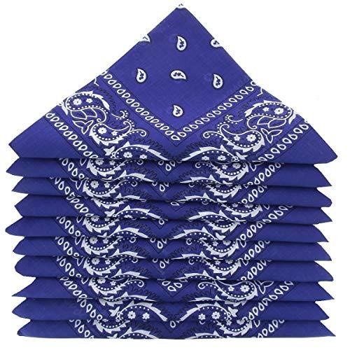 KARL LOVEN Lote de 5 bandanas 100% Algodon Paisley Panuelo Cabeza Cuello Bufanda (Juego de 5, Azul real)
