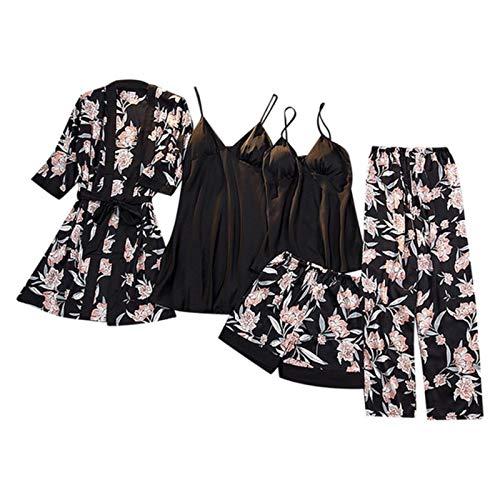 Winter Herbst Frauen Satin Pyjama Set Sexy Seide Pyjama Nachtwäsche Nachtanzüge Weiche Nachtwäsche Heimkleidung mit Brustpolster