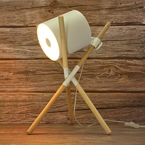 BarcelonaLED Lámpara de Mesa de Madera Trípode Orientable Diseño Nórdico Moderno Blanco con 3 Casquillos E27 LED Interruptor para Estudio Oficina Salón Cabecera