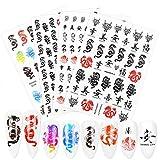 4 hojas 3D autoadhesivas Nail Art Dragon Decals Stickers Set Rojo Negro Colorido Autoadhesivo Transferencias de agua Pegatinas de uñas Puntas de acrílico Herramienta de diseño para mujeres niñas