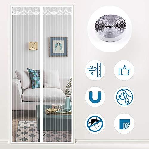 GettyGears Fliegengitter Tür Insektenschutz Magnet Vorhang Fliegenvorhang Moskitonetz Mit Klettverschluss Klebmontage Ohne Bohren für Balkontür Wohnzimmer Terrassentür 80x210cm Weiß