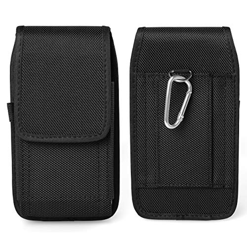 Rugged Vertical Nylon Phone Belt Holster Pouch Case Holder with Belt Loop Carabiner Clip for Samsung Galaxy Note 10 Plus, Note 9 Note 8, S9 Plus S8 Plus, A50 A20, Huawei P30 Pro, Mate 20 Pro, Honor 8X