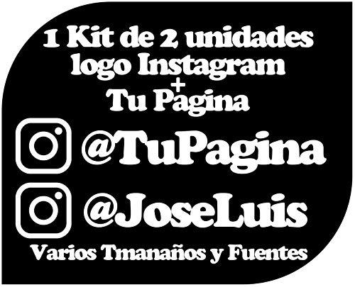Pegatina Vinilo Personalizado con Perfil Pagina de Instagram - Casco, Pared, Cristal, Puerta, Botella, Libro, Correos, Bici, etc. Kit de 2 Pegatinas (Pack Fuentes 1)