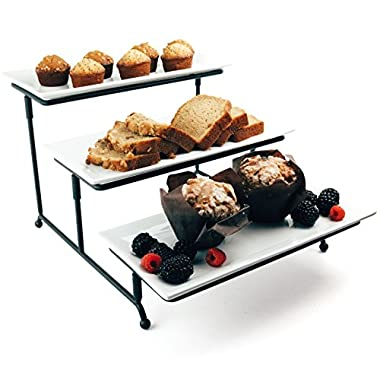 Chef's Medal Food Serving Tray Set: 3 Tier Metal Display Stand with 3 White Rectangular Stoneware Platters | Perfect for Party Foods, Desserts, Cakes & Cupcakes by