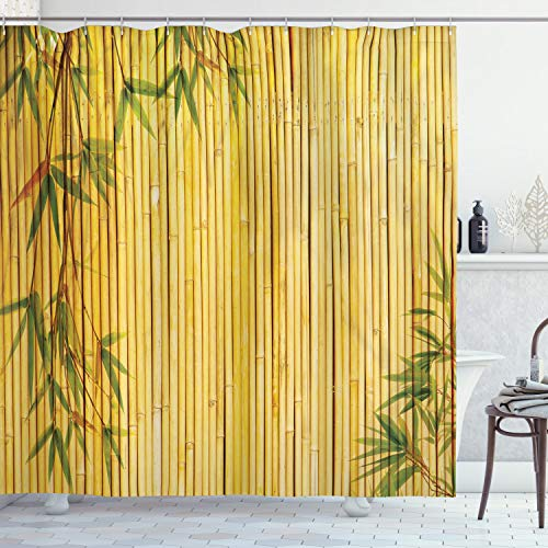 Ambesonne Bamboo Shower Curtain, Yellow Colored Bamboo Background with Tree Branches Exotic Plants Peaceful Artwork, Cloth Fabric Bathroom Decor Set with Hooks, 84' Long Extra, Green Yellow
