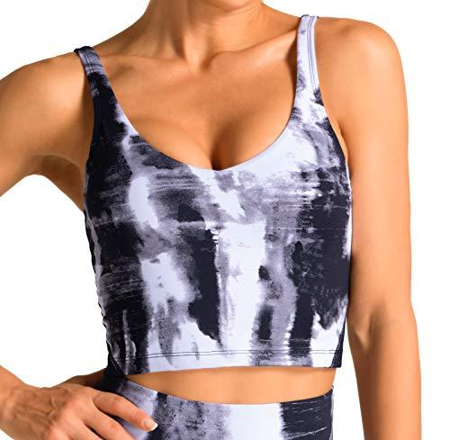 Dragon Fit Sports Brafor Women LonglinePaddedBra YogaCrop Tank TopsFitness Workout Running Top (Medium, Mono Cloud)
