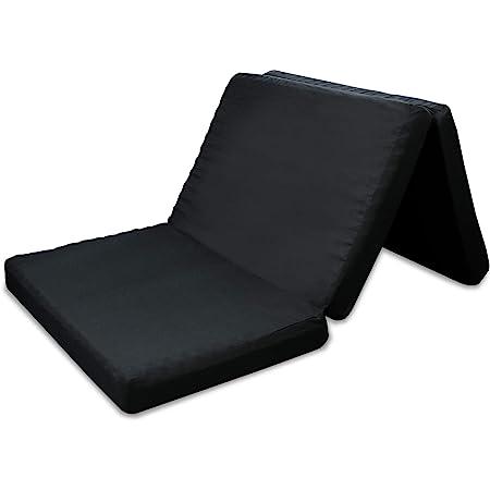 高反発マットレス 三つ折 凹凸加工 竹炭消臭 程よい硬さ ブラック 極厚 10cm (シングル)