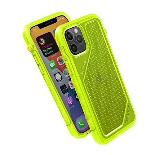 Vibe Series Funda diseñada para iPhone 12/12 Pro, interruptor de silencio giratorio patentado, a prueba de caídas de 3 m, compatible con MagSafe, Crux Accessories sistema de fijación – amarillo neón