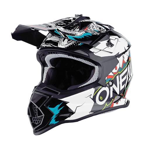 O'NEAL   Motocross-Helm   Kinder   MX Enduro   ABS-Schale, Sicherheitsnorm ECE 22.05, Lüftungsöffnungen für optimale Belüftung & Kühlung   2SRS Helmet Villian Youth   Weiß   Größe S