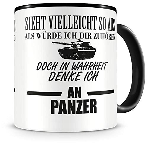 Samunshi® Ich denke an Panzer Tasse Kaffeetasse Teetasse Kaffeepott Kaffeebecher Becher Nr.1: schwarz/schwarz H:95mm / D:82mm
