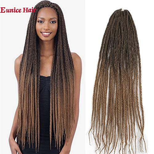 6 Packs Eunice Hair lunga licheni Hair Extensions 30 inch Brown Colorful capelli sintetici Kanekalon artigianali per radici Crochet Box Trecce marrone color in trecce capelli prolunga 22 Strands/Pack