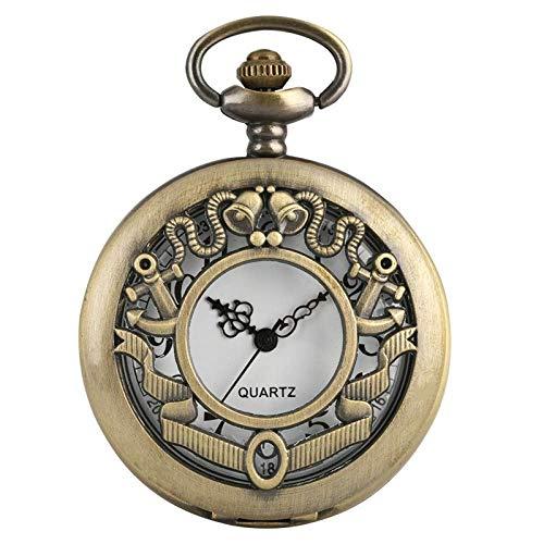 HLJ Reloj de Bolsillo, Flor Hueca Retro en Forma de Cuarzo Campanas Antiguas Campanas de dial Redondo Colgante Cadena de la Cadena Fob, Reloj de Bolsillo para (Color : Fivepointed)