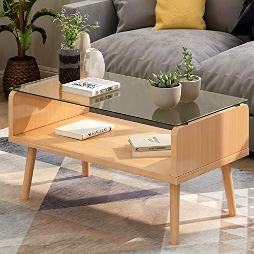 ModernLuxe Couchtisch Glastisch Wohnzimmertisch mit Doppelplatte aus Holz und 8mm Dicke Sicherheitsglas, Schlichter Beistelltisch Sofatisch Kaffeetisch