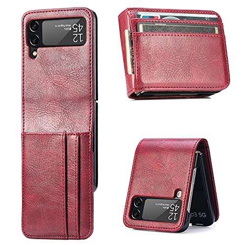 Kompatibel mit Galaxy Z Flip 3 5G Hülle Leder mit 3 Kartenfächer 1 Geldfach Handyhülle für Z Flip 3 5G Silikon Bumper Stoßfest Schutzhülle Klappar Tasche für Samsung Z Flip 3 5G (Rot,Z Flip 3 5G)