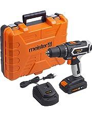 Meister MAS18V accuboormachine 18 V, 2,0 Ah accu - 2-versnellingsbak - snelspanboorhouder - 52 Nm koppel/accuschroevendraaier met LED-werklamp/boorschroevendraaier in koffer / 5451280