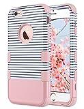 ULAK iPhone 6 Coque, iPhone 6s Coque 3en1 Impact Hybride Antichoc en Silicone Dur PC Housse Étui de Protection pour Apple iPhone 6 6s 4.7 Pouce (Or Rose Stripes)