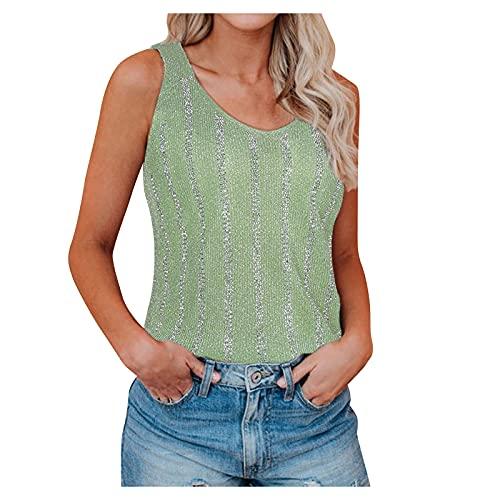 VEMOW Chaleco Camisola Chaleco de de Jersey de Punto Delgado para Mujer Cuello en V Profundo, Sexy Verano Elegante Camiseta de Tirantes Camisa de Deporte Moda Casual Fiesta Camisa Tops(C Verde,S)