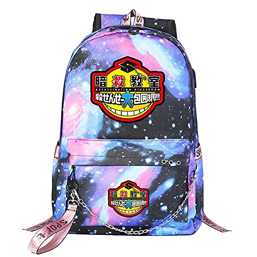 ZZGOO-LL Assassination Classroom With chain USB Anime Zaini backpack Scuola per Uomo Donna, Lavoro, Tablet Unisex Starry sky-B