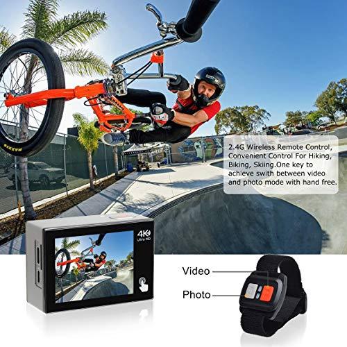 Campark X20 Action Cam 4K Ultra HD 20MP Touchscreen WiFi Fernbedienung EIS Anti-Shaking Unterwasserkamera wasserdichte 30M mit 170 ° Weitwinkel Verstellbar und Zubehör-Kits - 3