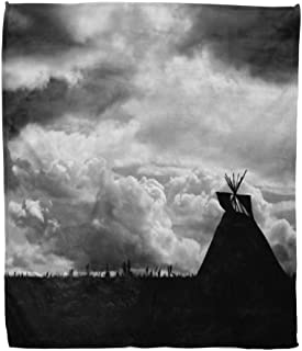 Emvency Throw Blanket Warm Cozy Print Flannel Native American Landscape North Indian Tepee Silhouette Against Turbulent Comfortable Soft for Bed Sofa and Couch 60x80 Inches
