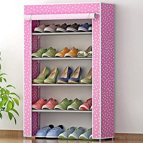 Étagère à Chaussures Shoebox Etagère à Chaussures de Rangement étanche à la poussière Organisateur de Stand 5tier Matériau Non tissé Résiste à l'humidité Portes battantes Design Velcro antirouille