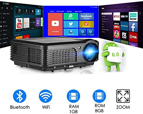 Bluetooth WiFi Video Projector HD Home Theater Digital LCD LED Proyector with 4400 Lux Android...