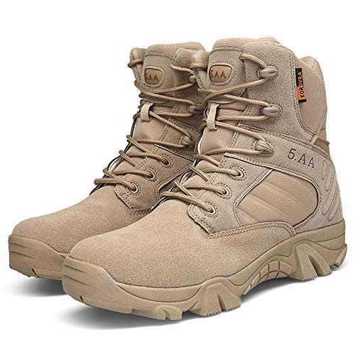Bitiger Men's Outdoor Delta Military Boots with Round Head Breathable Special Forces High to Help Desert Tactical Combat Hiking Boots