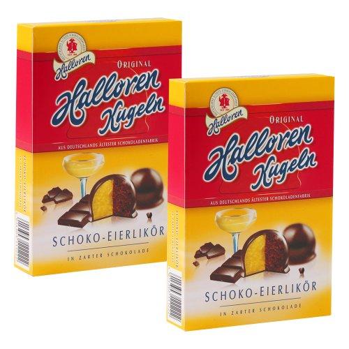 Original Halloren Kugeln SCHOKO-EIERLIKÖR 2er Pack (2 x 125 g) 12 Schokoladenkugeln in zarter Schokolade Süßigkeiten