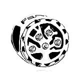 """Uniqueen - Ciondolo portafortuna con albero della vita, con cristalli e scritta """"Family"""" incisa, adatto per braccialetti, perfetto come regalo, vetro, bianco"""