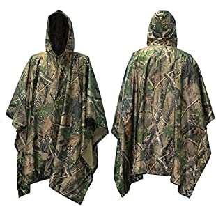 90 Points Multifunction Military Camouflage Rain Coat,Waterproof Ripstop Rain Poncho, PVC and Nylon,1 Pack (camouflage1)