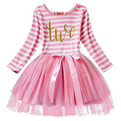 FYMNSI - Bebé niña 2. 3. Vestido de Fiesta de cumpleaños, de Manga Larga, de algodón, de Rayas, para el otoño o la fotografía Rosa (2 Jahre) 2 Años