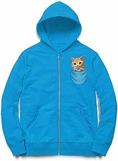 Fox Republic 子猫 こねこ リボン ポケット オーシャンブルー キッズ パーカー シッパー スウェット トレーナー 110cm