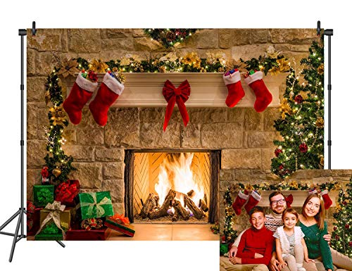 DANIU Merry Christmas Eve Photo Backdrop Christmas Trees Xmas Fireplace Gifts Red Bow Stocking Backgrounds for Photography 210cmX150cm