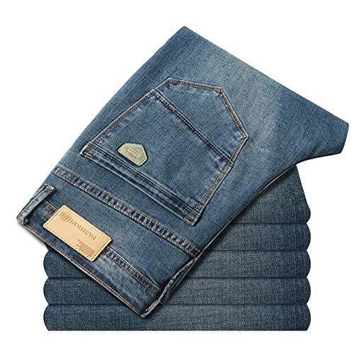 Vaqueros New Mens Fashion Blue Jeans Hombres Casual Slim Stretch Smart Jeans Pantalones De Mezclilla Clásicos Pantalones Tallas Grandes 28-40 31 Azul