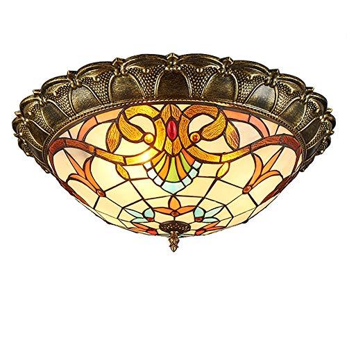 Tiffany Deckenleuchte Barock halbrund Wohnzimmer Deckenlampe Mediterraner Esszimmer Wohnzimmer-Lampe Europäischen Restaurant Decke Licht Leuchten