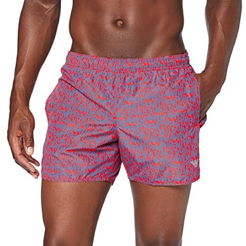 Emporio Armani Swimwear Mens Boxer Packable Swim Trunks, Black, 56