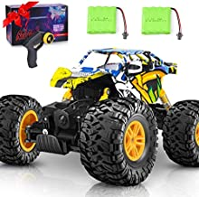 DOUBLE E RC Car 4WD Remote Control Car 2 Batteries Unique Colorful Shell Off Road Monster Truck 2 Powerful Motors Climbing RC Crawler Toy Cars for Boys Girls Kids