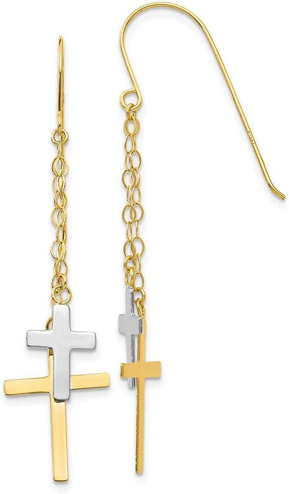 14k Yellow Gold Two Tone Chain Drop Dangle Chandelier Cross Religious Shepherd Hook Earrings Fine Jewelry For Women Gifts For Her