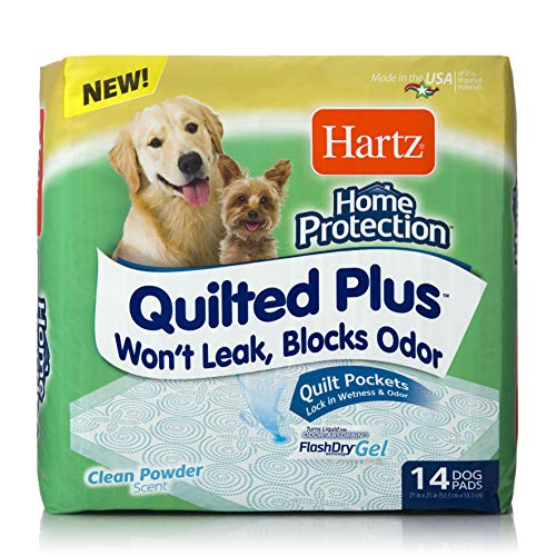 Hartz Home Protection Quilted Plus Dog Pads, Super Absorbent & Won't Leak, Clean Powder Scent, Regular, 14 Count