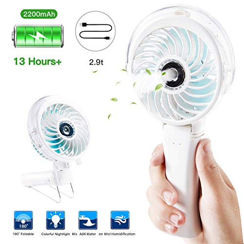 Sundlight Handheld Fan Mini Fan Powerful Small Personal Portable Fan USB Rechargeable Battery Operated Cooling Folding Electric Fan with Ring for Traveling