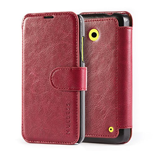 Mulbess Cover Libro Nokia Lumia 630/635,Custodia Portafoglio Nokia Lumia 630/635, Flip Custodia in Pelle con Chiusura Magnetica per Nokia Lumia 630/635 - Rosso