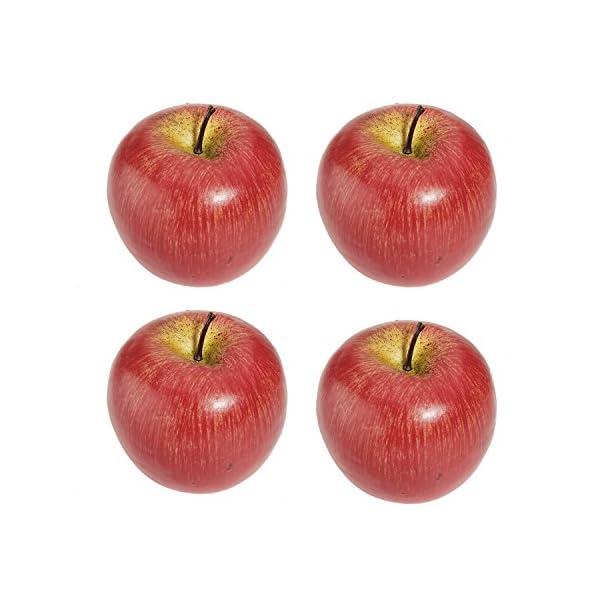 YIZAN 4 Large Artificial Red Apples-Decorative Fruit