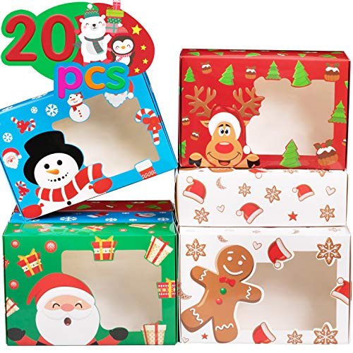 Funnlot Christmas Cookie Box Christmas Treats Container With Window 20PCS Christmas Treat Cookie Holiday Candy Box Christmas Baking Boxes Reindeer Santa Snowman Gingerbread Cookie Boxes