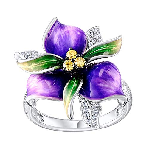 TankMR Exquisite Jewelry Ring Purple Flower Rhinestone Inlaid Women Finger Ring Wedding Party Jewelry Gift Wedding Band Best Gifts for Love with Valentine's Day - Purple US 7